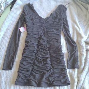 Ruched mini black longe sleeve dress